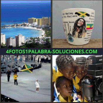 4 Fotos 1 Palabra - Edificios y playas. Bob Marley taza. Gente celebración en ciudad con bandera. Niños de amarillo viendo una cámara