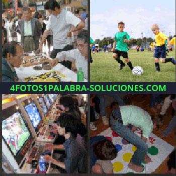 4 Fotos 1 Palabra - Jugando al Twister, hombre con juego de fichas, niños jugando al fútbol, sala de videojuegos