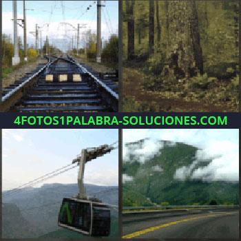 4 Fotos 1 Palabra - vías del tren. Camino en el bosque. Teleférico o telesillas. Carretera y montaña