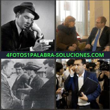 4 Fotos 1 Palabra - Varias personas hablando, foto en blanco y negro de hombre con sombrero, hombre hablando por teléfono..