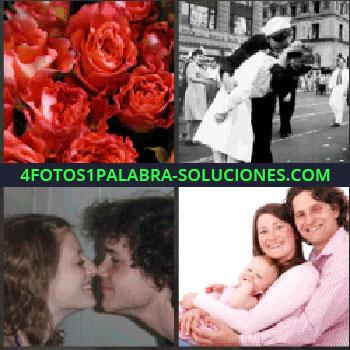 4 Fotos 1 Palabra - Rosas rojas. Foto antigua pareja besándose. enamorados. Padre y madre con bebe