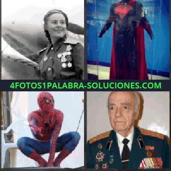 4 Fotos 1 Palabra - Mujer militar condecorada. Traje de superman. spiderman o el hombre araña. Señor mayor militar con mucha condecoraciones