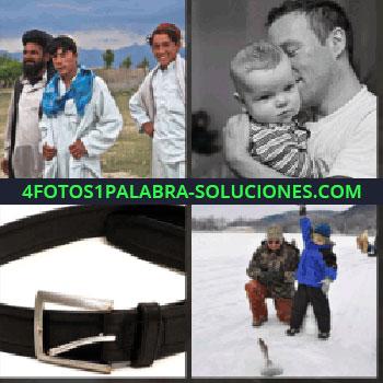 4 Fotos 1 Palabra - musulmanes de blanco. Hombre con bebe en brazos. Cinturón o correo. Hombre y niño en la nieve