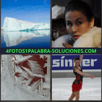 4 Fotos 1 Palabra - Mujer con abrigo de piel, hielo, mujer patinando sobre hielo, iceberg patinadora