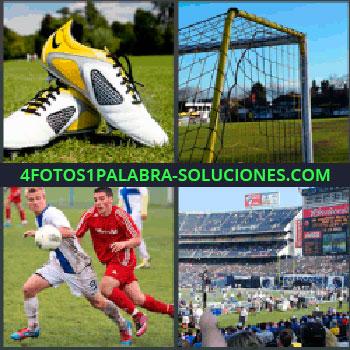4 Fotos 1 Palabra - tenis, Zapatillas de deporte, Portería, Jugadores de fútbol, Campo o cancha para seguir jugando