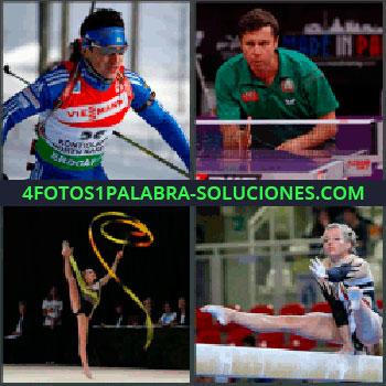 4 Fotos 1 Palabra - esquiadora, Compitiendo al ping pong o tenis de mesa, Gimnasia rítmica, Gimnasia artística, Salto de potro