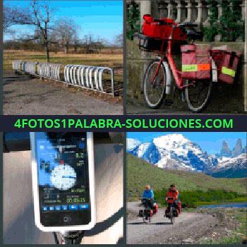 4 Fotos 1 Palabra - Para aparcar motos, Bicicleta para reparto de correo cartero, Iphone o Smartphone, Dos personas en bicicleta por el campo