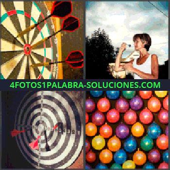 4 Fotos 1 Palabra - diana, Mujer jugando a la diana, Globos de colores