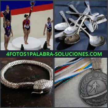 4 Fotos 1 Palabra - podio o podium, Cubiertos cucharas tenedores y cuchillos, Adorno metálico, Medalla olímpica
