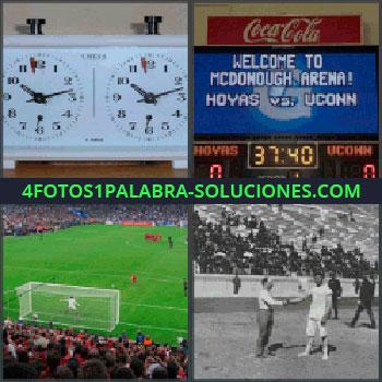 4 Fotos 1 Palabra - cronometro o reloj doble, Letrero luminoso en competición deportiva, Campo de fútbol, Dos señores dándose la mano