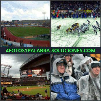 4 Fotos 1 Palabra - estadio de atletismo, Equipos de fútbol americano o rugby, Estadio de beisbol, Personas en estadio con chubasqueros por la lluvia.