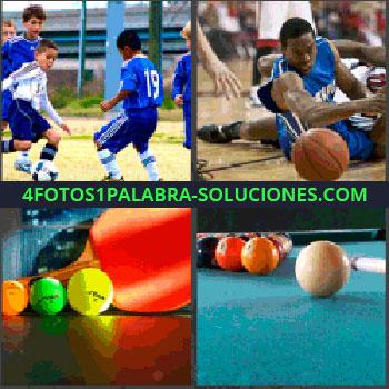 4 Fotos 1 Palabra - baloncesto jugador, Niños jugando al fútbol, Ping pong, Billar