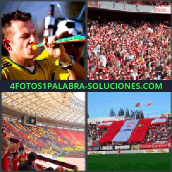 4 Fotos 1 Palabra - seguidor fútbol con trompetilla, Gradas de forofos de equipo, Estadio en rojo y amarillo lleno, Bandera gigante en estadio