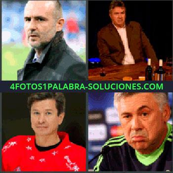 4 Fotos 1 Palabra - Hombre con traje, Señor sentado en una mesa, Hombre con camiseta roja, Carlo Ancelotti.