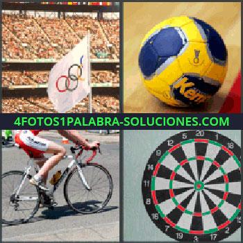 4 Fotos 1 Palabra - bandera olimpica, Balón de fútbol, Bicicleta competición, Diana.