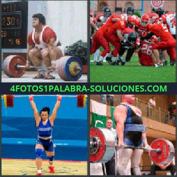4 Fotos 1 Palabra - levantamiento pesas, Halterofilia, Competición fútbol americano, Mujer levantando pesas, Hombre levantando de pesas