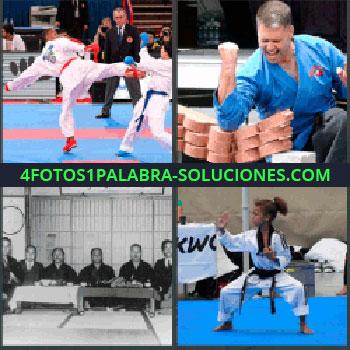4 Fotos 1 Palabra - taekwondo, Hombre rompiendo ladrillos con brazo o codo, Artes marciales, Niña judo.