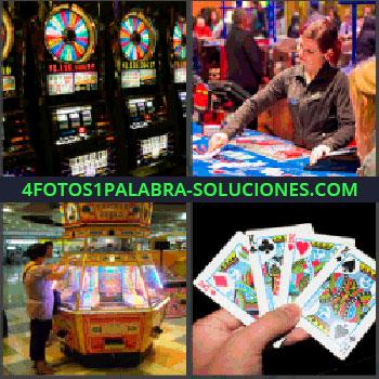 4 Fotos 1 Palabra - tragamonedas o tragaperras, Croupier casino, Maquina de juegos, Cartas de poker