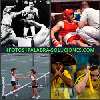 4 Fotos 1 Palabra - combate de boxeo, Mujer boxeo en el suelo, Final partido de tenis, Equipo mexicano.