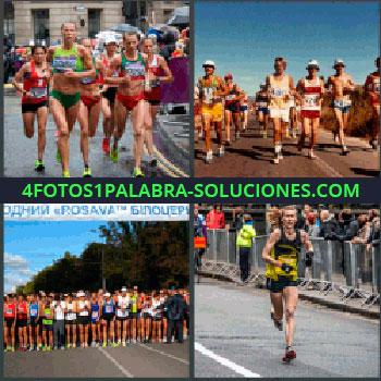 4 Fotos 1 Palabra - carrera. Atletismo. Gente corriendo. Running. Competición