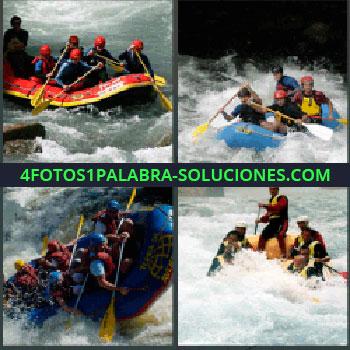 4 Fotos 1 Palabra - siete-letras rio rápidos. Barca. Balsa. Canoa. Kayak. Rio abajo.