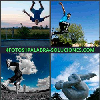 4 Fotos 1 Palabra - Chico en cama elástica, Joven saltando, Persona haciendo el pino, Practicar parkour, Estatua.