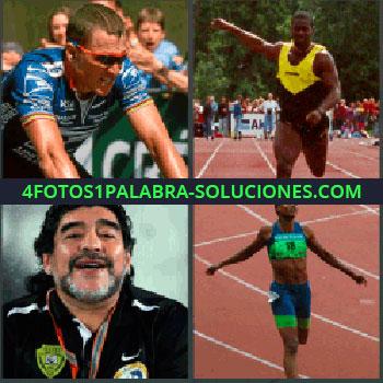 4 Fotos 1 Palabra - ciclista en competición. Hombre terminado la carrera. Maradona