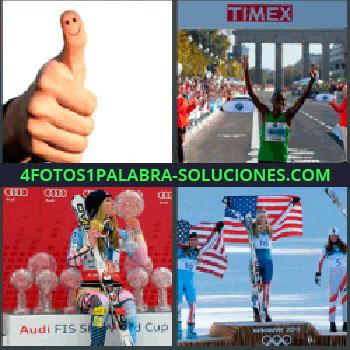 4 Fotos 1 Palabra - pulgar arriba con carita feliz, Hombre llegando a la meta, Mujer esquiadora ganadora torneo, Esquiadora en primer puesto podium o podio.