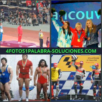 4 Fotos 1 Palabra - Ganadores torneo o campeonato en podium, Mujeres con medallas saludando, 3 hombres fuertes con medallas, Ciclistas campeones.