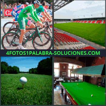 4 Fotos 1 Palabra - ciclistas en carrera, Estadio de fútbol, Pelota y campo de golf, Mesa de billar