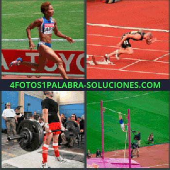 4 Fotos 1 Palabra - mujer corriendo, Hombre corriendo, Hombre levantando pesas, Salto de pértiga