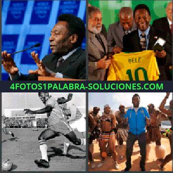 4 Fotos 1 Palabra - Pele, Presidente Brasil Lula da Silva con Pelé, Jugando fútbol, Bailando