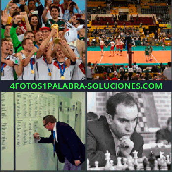 4 Fotos 1 Palabra - ajedrez baloncesto, Fotos equipo con copa, Equipos de voleibol, Señor anotando en listados, Jugador de ajedrez