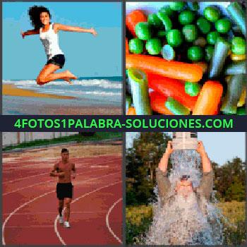4 Fotos 1 Palabra - mujer saltando, Menestra de verduras, Joven corriendo, Señor echándose cubo de agua