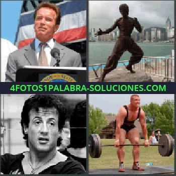 4 Fotos 1 Palabra - Arnold Schwarzenegger. Estatua Karateca. Bruce Lee. Sylvester Stallone. Forzudo subiendo pesas
