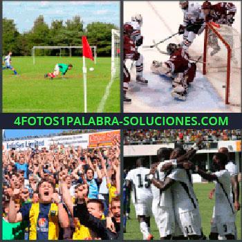 4 Fotos 1 Palabra - campo de fútbol, Campo de hockey, Seguidores de un equipo celebrando, Jugadores abrazándose