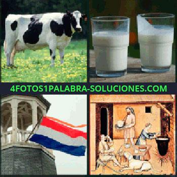 4 Fotos 1 Palabra - vaca leche, Vaca, Dos vasos de leche, Torre con bandera, Dibujo antiguo