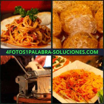 4 Fotos 1 Palabra - 1 foto, Plato de espaguetis, Bolsas de tallarines, Maquina de hacer pasta, Plato de comida