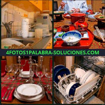 4 Fotos 1 Palabra - platos y cubiertos, Cocina, Lavavajillas, Lavar los trastes, Vasos y copas que falta