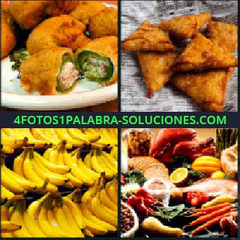 4 Fotos 1 Palabra - platanos, Plato lleno de verduras rebozadas, Triangulos fritos, Diferentes tipos de comida