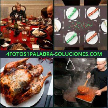 4 Fotos 1 Palabra - pollo, Comida familiar en mesa redonda, Decoración mesa, Cocinero con guiso