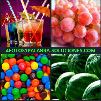 4 Fotos 1 Palabra - uvas, Varios cocteles, Emanems, Fruta sandias o melones de