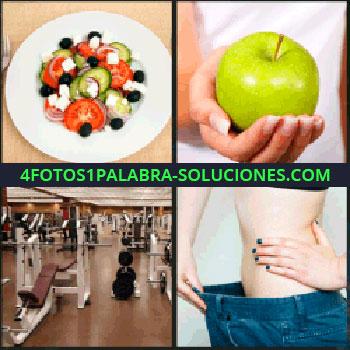 4 Fotos 1 Palabra - ensalada, Manzana, Gimnasio, Mujer con pantalón grande