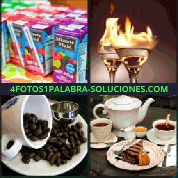 4 Fotos 1 Palabra - minute maid, Copas con fuego, Granos de cafe, Infusión con tarta o pay