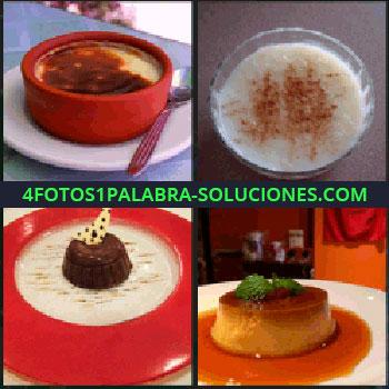 4 Fotos 1 Palabra - postres, Crema catalana o natillas, Arroz con leche, Tarta o pay de chocolate, Flan