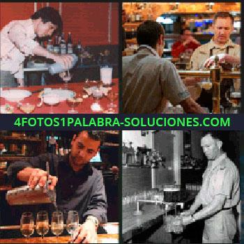 4 Fotos 1 Palabra - camarero, Mesero, Hombre sirviendo copas, Hombre preparando cocteles