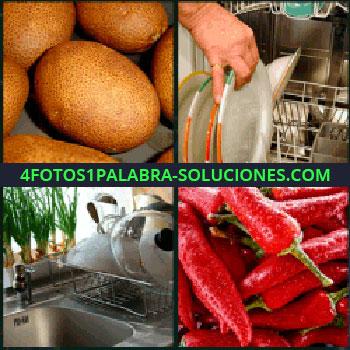 4 Fotos 1 Palabra - lavaplatos o lavavajillas, Tubérculo, Fregadero cocina, Chiles pimientos o guindillas.