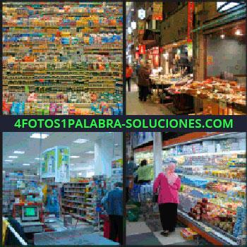4 Fotos 1 Palabra - supermercado, Expositores llenos de productos, Mercado, Gente de compras, Tienda de ultramarinos.