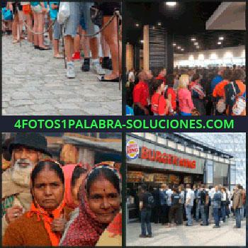 4 Fotos 1 Palabra - mucha gente, Gente haciendo fila, Personas en un evento o feria, Personas de la India, Gente en Burger King