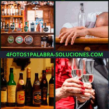 4 Fotos 1 Palabra - botellas copas, Barra con cervezas de barril, Hombre con botella de licor, Diferentes botellas de bebidas
